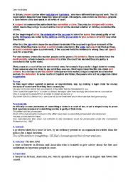 English Worksheet: Law vocabulary