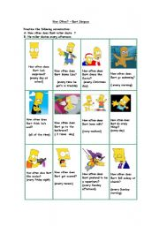 English Worksheet: How often does Bart Simpson...? (short conversations)