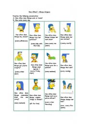 English Worksheets: How often does Marge Simpson...? (short conversations)