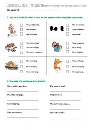 English Worksheet: TEST have got, like don´t like, present continuous, food