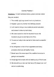 Practice Commas Worksheet: worksheet  Comma Practice,