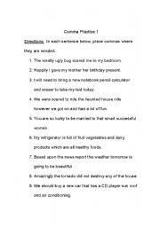Comma Practice - ESL worksheet by jenzab