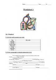 English Worksheet: My Obligation!