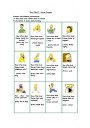 English Worksheet: How often does Homer Simpson...? (short conversations)