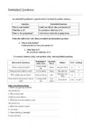 English Worksheet: Embedded Questions
