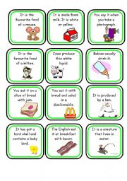 English Worksheet: Quiz Cards on Food