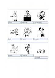 English Worksheets: Occupation Flash cards