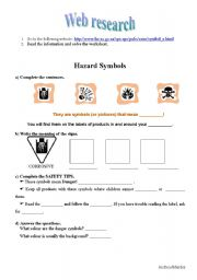 English Worksheet: web research: traffic signs and household products labels