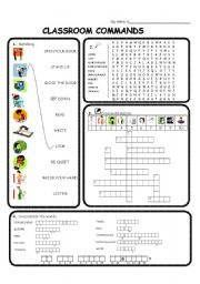 English Worksheets: Classroom commands / phrases