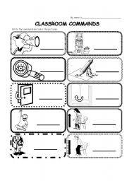 English Worksheet: Classroom commands / phrases (easy)