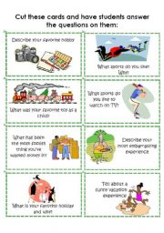 English Worksheet: Conversation Cards 1 of 8