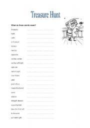 English worksheet: treasure hunt