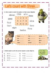 English Worksheet: Count with Shrek