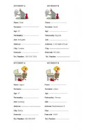 English Worksheets: Pair-work activity 3 - Personal Information