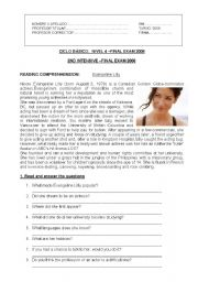 English Worksheet: Basic Test for Adults