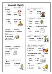 English Worksheets: GRAMMER REVISION