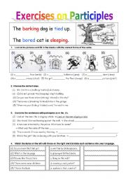 Worksheets Participles Worksheet english teaching worksheets participle exercises on part i