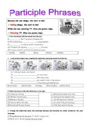 English Worksheet: Exercises on Participles (Part2-Participle pharses)