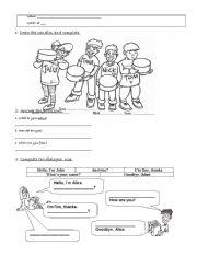English Worksheets: Test greetings