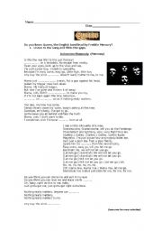 English Worksheets: Queen- Bohemian Rapsody