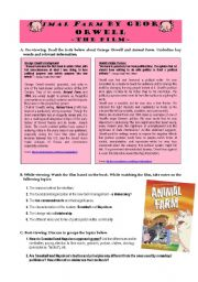 English Worksheets: ANIMAL FARM by George Orwell - video worksheet
