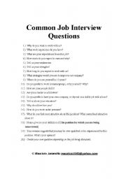 English Worksheets: Common Job Interview Questions