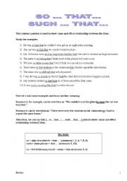 English Worksheet: so...that... & such...that... + exercises with suggested answers