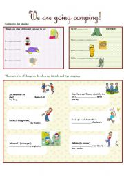 English Worksheet: WE ARE GOING CAMPING