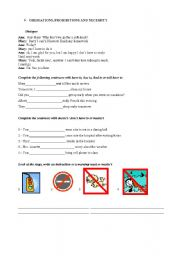 English Worksheet: OBLIGATIONS, PROHIBITIONS AND NECESSITY