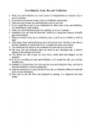 English Worksheet: travelling by bus. trolleybus and tram in Ukraine