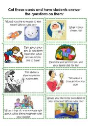 English Worksheets: Conversation Cards 5 of 8