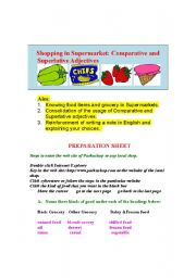 English Worksheet: Shopping in Supermarket: Comparative ans Superlative Adjectives