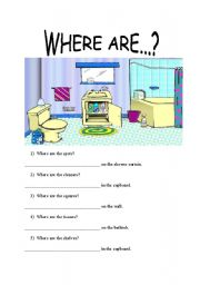 English Worksheets: Where Are....