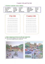 English Worksheet: city vs country