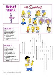 English Worksheet: Titular Family Vocabulary with the Simpsons (Crossword 1)