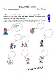 English Worksheet: Exclamation Mark