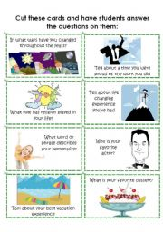 English Worksheets: Conversation Cards 3 of 8