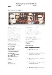 English Worksheets: It�s a beautiful day -U2