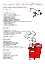 English Worksheets: Useful Language: transactional Letters