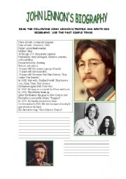 English Worksheet: John Lennon�s profile- Writing
