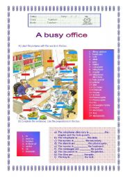 English Worksheets: A busy office