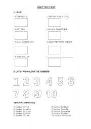 English Worksheet: Written test for kinder