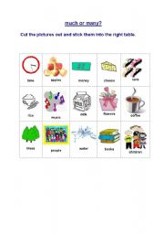 English Worksheet: much or many?