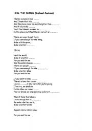 Heal the world by Michael Jackson - ESL worksheet by mmelich2