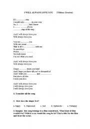English Worksheet: I will always love you Whitney Houston