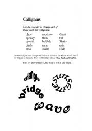 English Worksheets: Calligrams - Shape Words