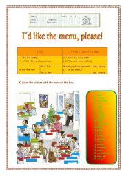 English Worksheet: I'd like the menu, please