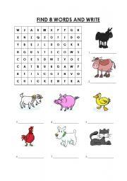 English Worksheets: Wordsearch-Farm Animals