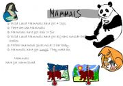 English Worksheet: Vertebrates: Mammal, reptiles, anphibians, birds