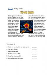 English Worksheets: The Solar System - reading activity